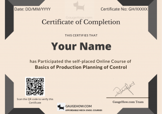 certificate course of production planning