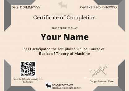 theory of machine certificate course