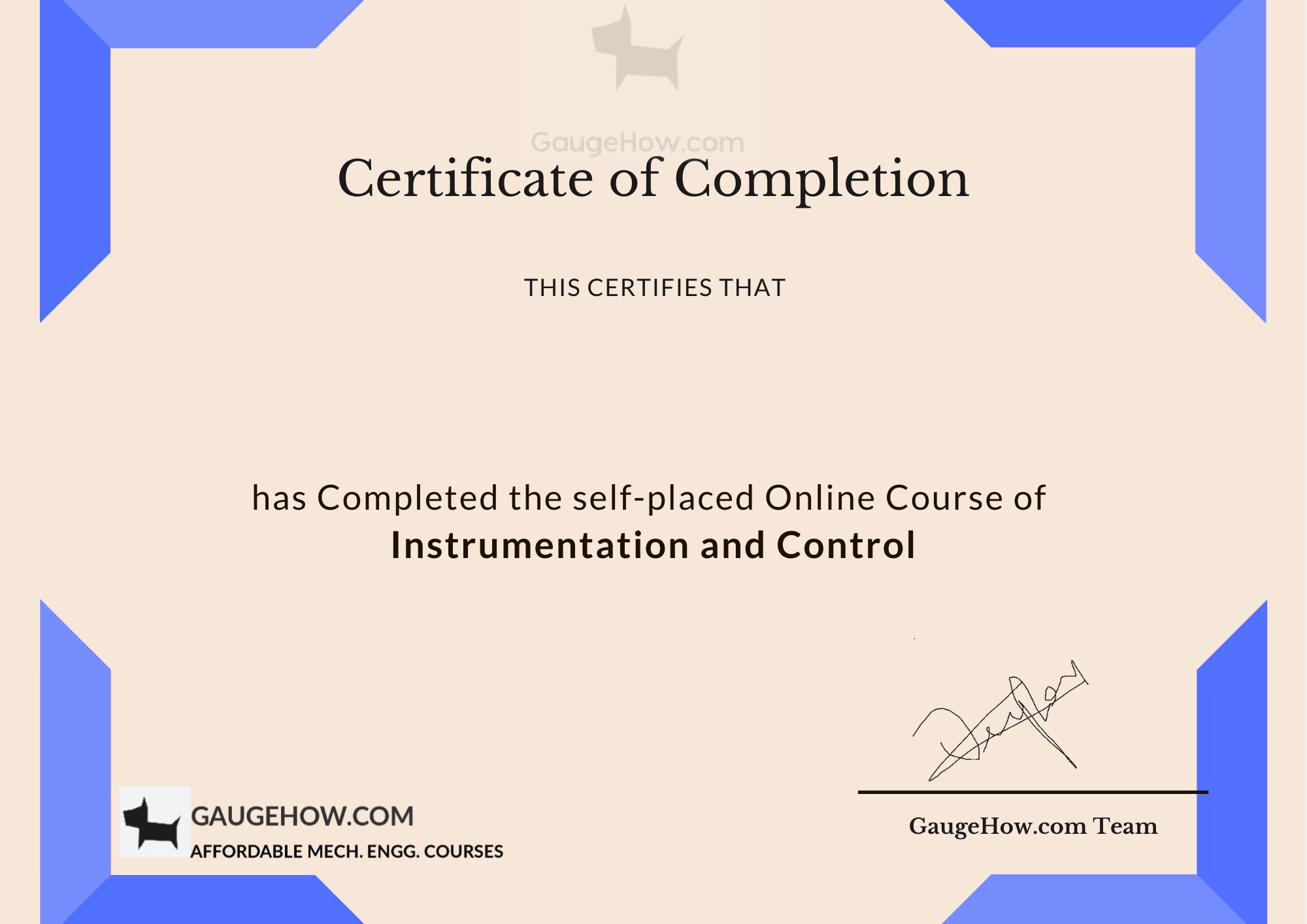 instrumentation certificate